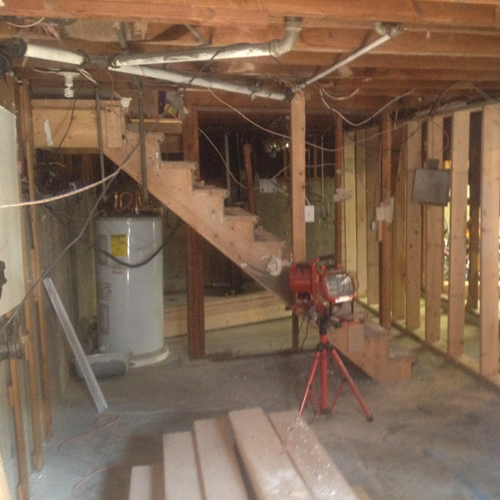 Basement Remodel Stair Framing Before Design Scales