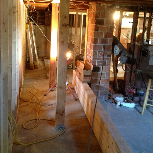 Basemet-Remodel-Structural-Post-Beam-Installation-Framing